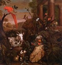 ein papagei, ein meerschweinchen und eine ziege in einem distelbusch vor einer antiken ruine by pieter van der hulst