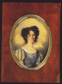 a young lady wearing blue dress with blue and white sleeves, white underdress, her dark brown hair curled by jacques-marie legros