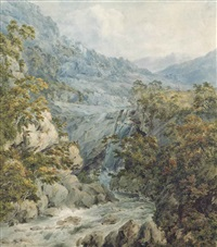 upper fall of the clydagh, brecknockshire by john warwick smith