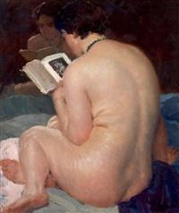 jeune femme de dos lisant un livre face à un miroir by louis françois biloul