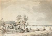 landskap med stugor vid insjö, kråknäs by jonas carl linnerhielm