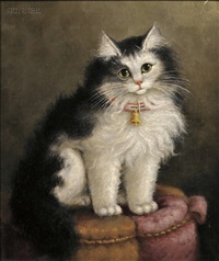 portrait of a cat on a tuffet by percy a. sanborn