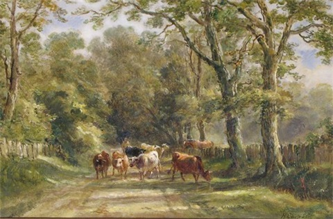 cattle on a lane cattle by a river at dusk pair by henry earp