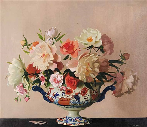 Untitled Flowers In An Ornate Vase By Archibald George Barnes On