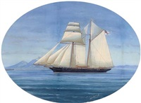 a topsail schooner of the royal yacht squadron in the mediterranean off naples by a. de simone
