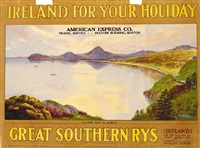 killiney bay, co. dublin, ireland for your holidays, great southern railways by walter till