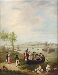 promeneurs devant le port de bayonne by a.a. simons