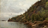 lake view in august from impilahti finland by berndt adolf lindholm