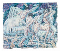 figures in a landscape (diptych) by ricardo cinalli