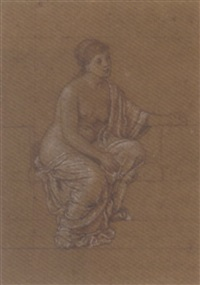 study of a draped female figure by henry george holiday