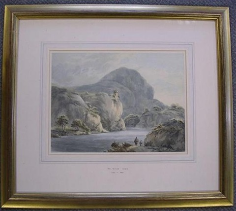 a castle on a rocky gorge with travellers in the foreground by william rev gilpin