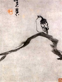 bird on a tree branch (album leaf with titleslip) by niu shihui