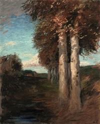 herbstliche moorlandschaft mit birken und bauerngehöft by hans am ende