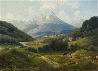 blick auf berchtesgaden und den watzmann by karl friedrich le feubure