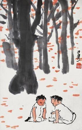 斗蟋蟀 by li keran
