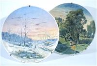 paesaggi con figure piatti (pair) by bartolomeo ardy