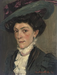 portrait of a lady in a plumed hat by konrad kardorff