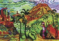 temple festival in sidemen area: view of volcano agung from the village of iseh by paul husner