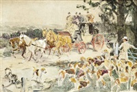 stage coach passing a pack of hounds by gilbert scott wright