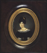a lady wearing black dress with white lace trim and matching belt, a gold chain at her neck and comb in her upswept black hair by sophie hubert