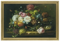 morning glories, roses and daisies in a vase, beside a nest (+ another; pair) by thomas webster