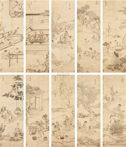 人物十景 set of 10 by zhang henian