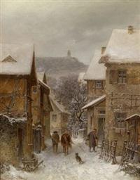winterliche taunuslandschaft mit der burg falkenstein by johann lorenz maas