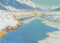 alpenfluß im hellen licht der wintersonne by carl arp