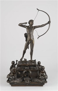 archer sur socle avec salamandre flanquée de quatre amours surmontant des tritons by maximilian lenz