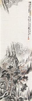 精舍读书图 立轴 设色纸本 by qian songyan