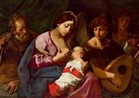 die heilige familie mit zwei musizierenden engeln, la sacra famiglia con due angeli musicanti by flaminio torre