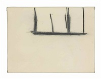 open no. 140: charcoal on cream by robert motherwell