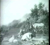 a wooded landscape with cattle and sheep          resting in the foreground by a. heszler