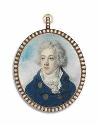 a young gentleman, possibly mr wombwell, in blue coat with gold buttons by richard cosway