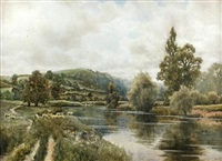 sheep and cattle grazing by a river bank in a mountainous landscape (+ haymaking in river meadows, a church beyond the first; pair) by wiggs kinnaird
