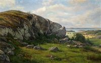 summer landscape by berndt adolf lindholm