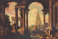 roman ruins with figures, the pyramid of cestius in the background by peter nikolaus buson