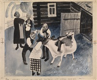 prayer for the cow's health, an illustration for the magazine krokodil by nikolai nikolaevich kupreyanov