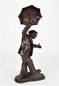 singing in the rain - a gadgie with an umbrella by alexander millar