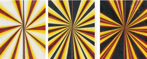 untitled black yellow red pink cream and white butterfly drawing in 3 parts by mark grotjahn