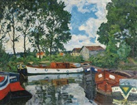 houseboats at moret-sur-loing by arnold borisovich lakhovsky