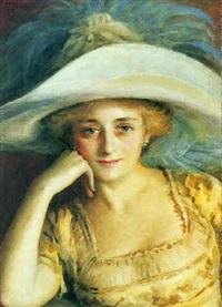 portræt af en dame med bredskygget hat by ivan lindhe