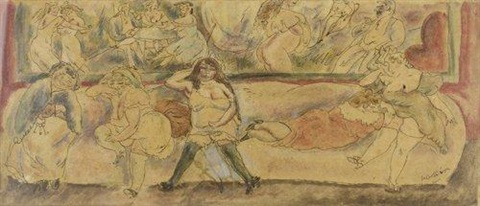 scène de maison close by jules pascin