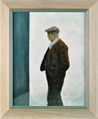 a three-quarter length study of a man wearing a flat cap and a white muffler by alexander millar