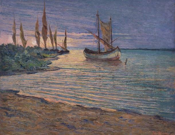 barche al tramonto by aldo dell acqua