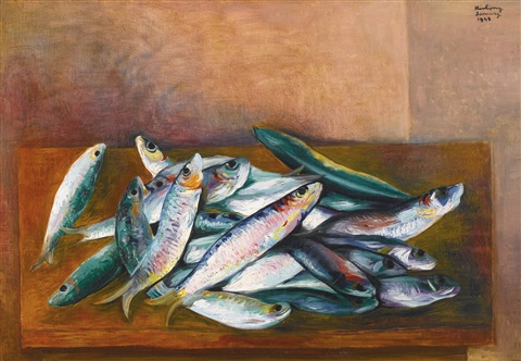 nature morte aux sardines by moïse kisling