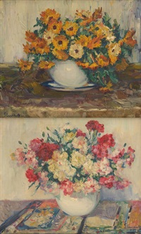 compositions florales (2 works) by hubert glansdorff