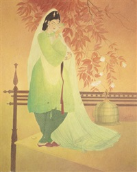 untitled (woman with parrot) by abdur rahman chughtai