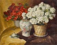 vase fleuri d'azalées avec vase chinois by aristide goffinon