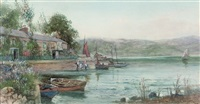 low tide (+ returning from the fishing grounds; pair) by james hughes clayton